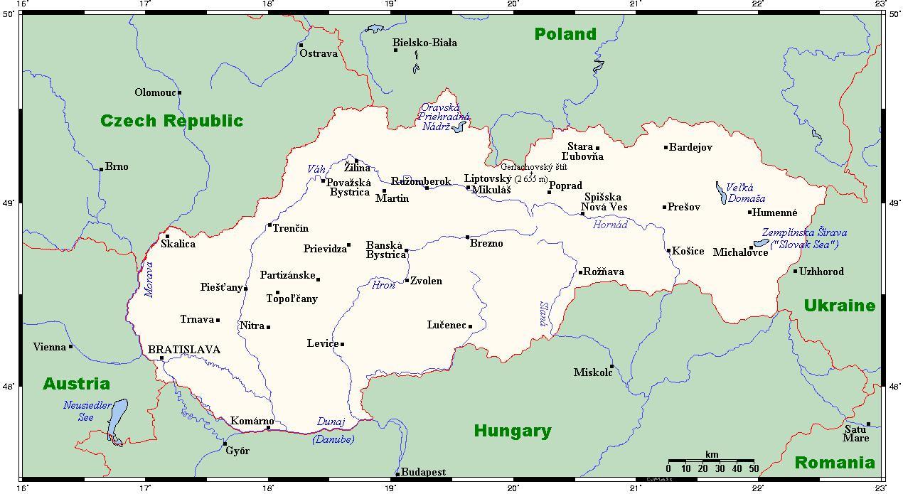Slowacja Mapa Miasta Mapa Slowacji Z Miastami Europa Wschodnia