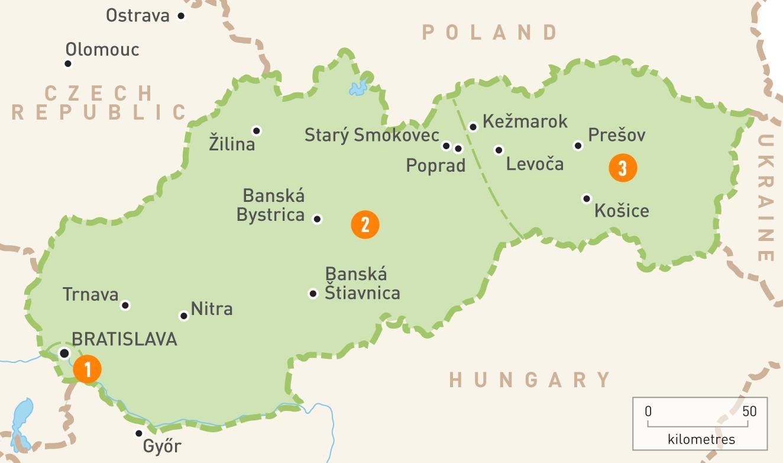 Slowacja Mapa Slowacji Mapa Europa Wschodnia Europa