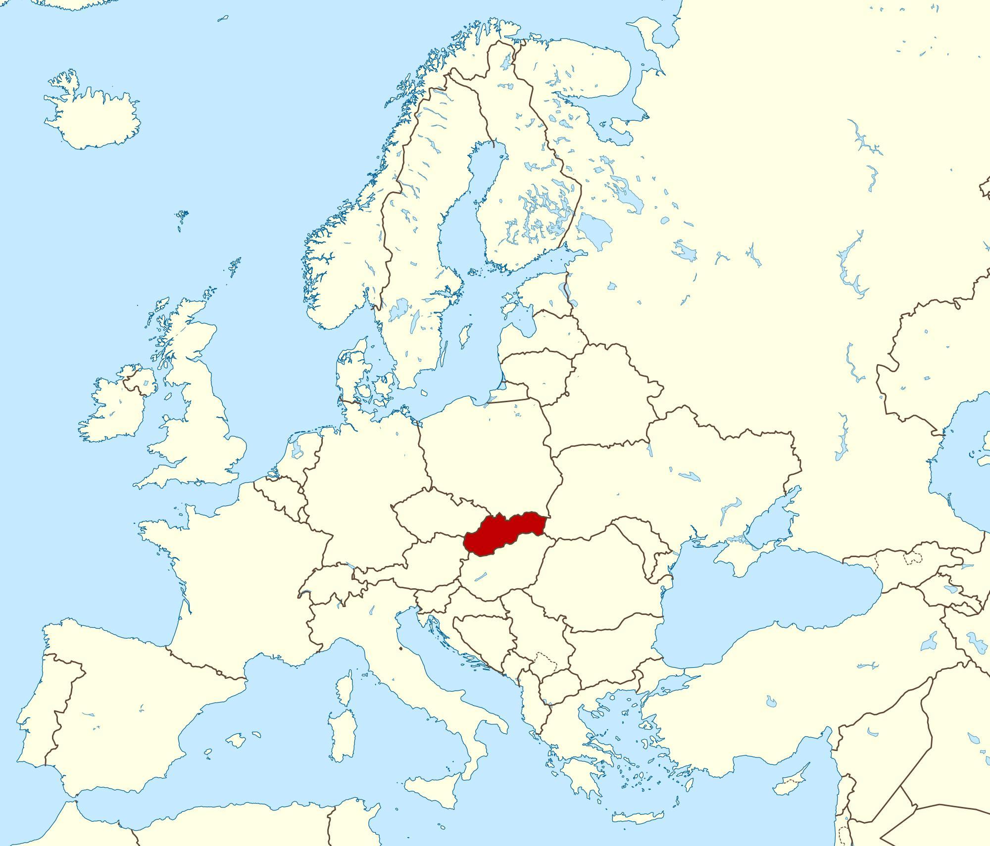 Slowacja Mapa Europy Mapa Slowacji Mapa Europy Europa